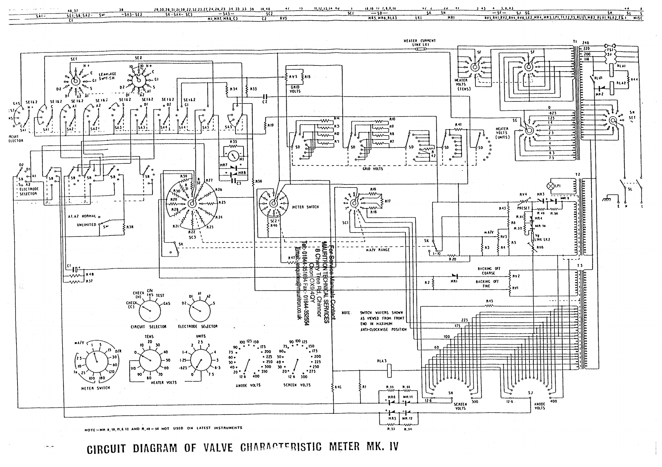 Avo K4 Iv Tube Valve Tester Page With Panel Meter Information Taylor 210e Wiring Diagram Another Schematic It Has Errors